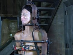 Strappado, claustrophobia and orgasm predicament for captive girl.