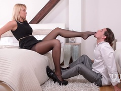 Amazon Czech Blonde Gives Footjob and Anal Sex to Lucky Stud