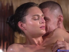 Angelic busty brunette Leanne Lace fucked good on the massage table