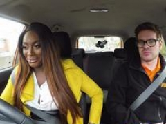 Fake Driving School Hot Ebony Jai James with Big Boobs Cant Drive