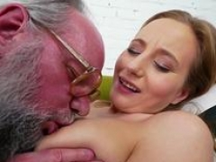 Teenage gives blowjob gramps toy