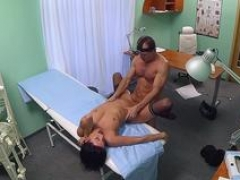 Mind-boggling patient in stockings fucked by doc