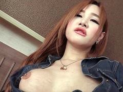 Busty Post Op Ladyboy Glass Toy Play