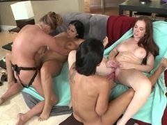Female friends throw a party that turns into a lesbian foursome