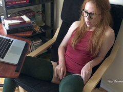 spy on insatiable sandy-haired nerd while she plays and shoots a load