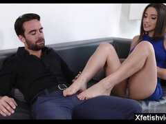 Hot Babe sister foot fetish and ejaculation