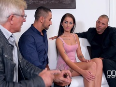 Sealing The Deal: Hot Babe's Fuckholes Stuffed By Two Studs