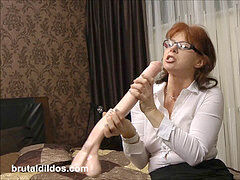 filthy secretary fucking her asshole with a brutal horse fuckpole fuck stick in HD