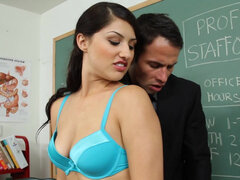 College student Scarlet Banks goes dirty with professor