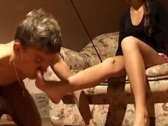 Femdom cropped & food humiliated slave during a doggy play