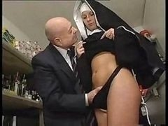 Nun & A Dirty Aged Fella Get To Playing Around With Her Snatch