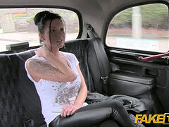 FakeTaxi Moody dark haired brit girl drilled in the cab