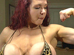 busty FBB flexes and tears up