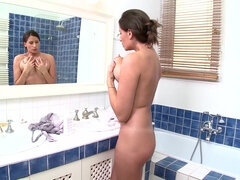 Romanian MILF wet & naked in shower - monster boobs