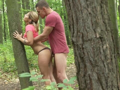 Stand up fuck in the woods gives Amy strong intense orgasm