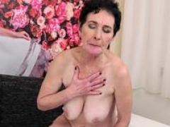 Lusty grandma getting down and dirty
