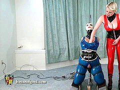 spandex restrain bondage woman jewell vibed and machine fucked