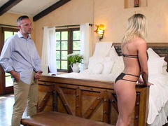Beautiful blonde forced to have sex with stranger and rich guy