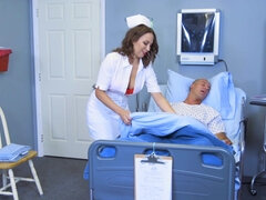 Nurse Lily Love in white nylons rides her patient on a hospital bed