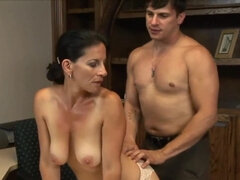 Mature brunette hottie pleases a dude in the office
