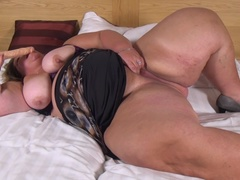 Dutch big beautiful lady playing in bed