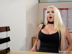 Brazzers Busty blonde hottie sucks and fucks in the office