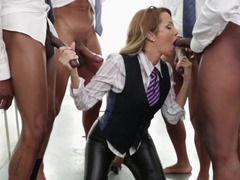 Jessica Drake blows off three sizeable cocks in sexy leather pants