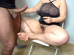 Mrs. Jaily - Chastity gimp masturbating of lengthy toenails and clean own cum 4k