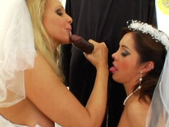 Bride and her friend are sucking dick