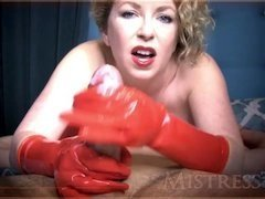 [MistressT] Red Rubber Gloves