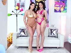 Cute-looking babes Angela White and Kissa Sins love anal sex