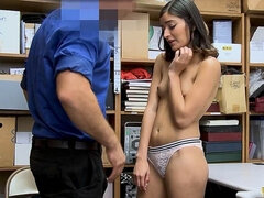 Cute darkhaired shoplifter gets punish got laid on CCTV