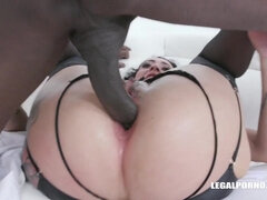 Obedient piss whore Morgan interracial double anal
