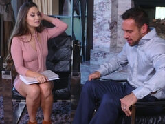 Cassidy Klein bared during job interview by the fireplace