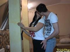 Cheating eurobabe rides love pole on the floor