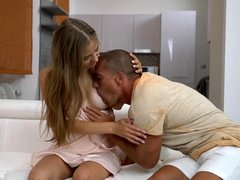 A gal gets her body touched and also her nipples licked before receiving knob