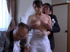 Japanese wife get stripped clothes by boss in front of her husband
