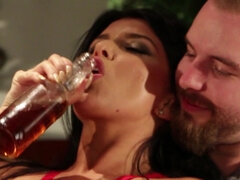 Richelle Ryan and Romi Rain fuck while a group of horny guys watching