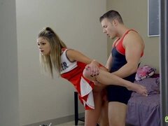 Sensual cheerleader Ms Faris raises her dress and gets a big shaft