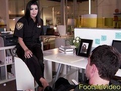 Police hotties feet jizzed