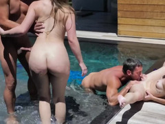 Guys took stepdaughters aback jumping in pool and banging
