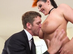 Busty Angela White plugs her butthole with a tail before being anally drilled