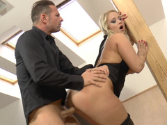 Large boobs and additionally bum babe in leather pants gets laid