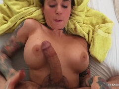 Joanna Angel is tattooed from head to toe and has big boobs.