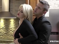 Horny Housewife Sienna Day Bangs A duo Men In the Kitchen