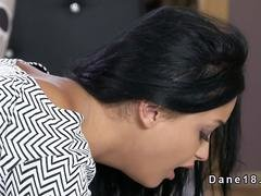 Dark haired beauty gets rimjob & fuck