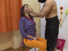 Cheating Firangi housewife with soft boobs visits the ashram HD - threesome with cumshot