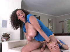 Curly black kitten with huge natural tits that sag does it doggy style