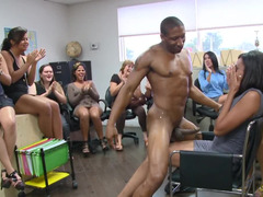 Office ladies love the stripper so much they suck on his cock