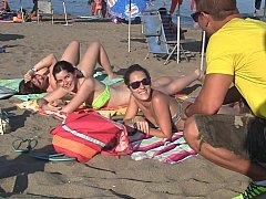 Spanish broads seduced on a beach